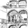 Italien, Bleistiftzeichnung, Innenhof, Zeichnungen