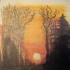 Mischtechnik, Sonnenuntergang, Landschaft, Aquarell