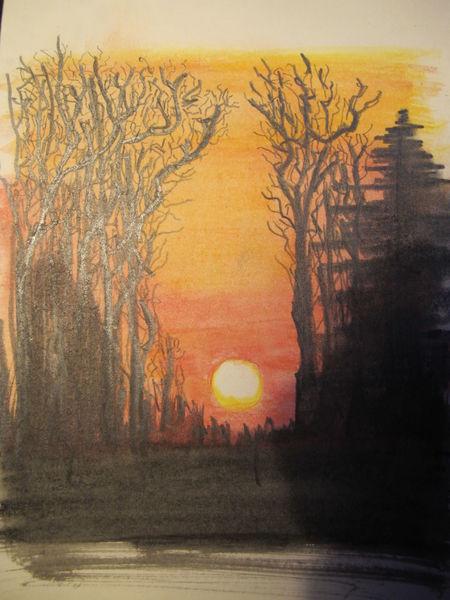 Mischtechnik, Sonnenuntergang, Landschaft, Aquarell, Wald