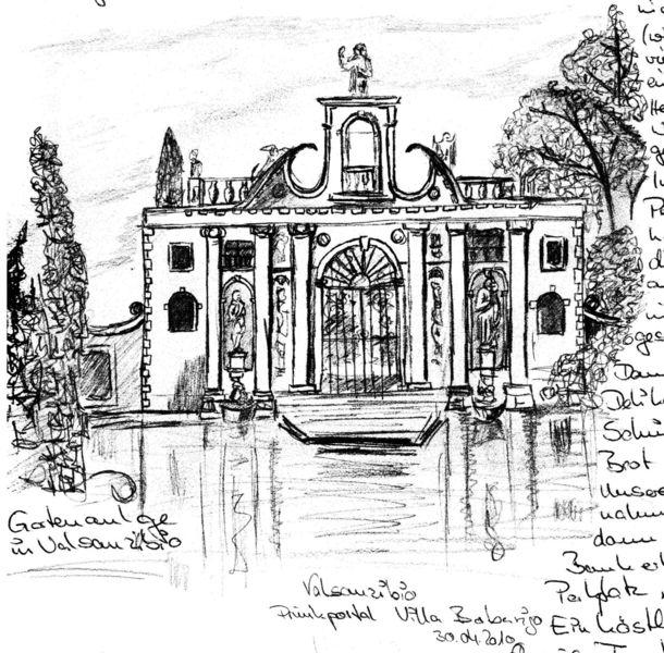 Reiseskizze, Italien, Park, Zeichnungen