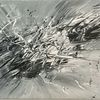 Schwarzweiß, Spachteltechnik, Acrylmalerei, Abstrakt