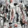 Gemälde, Schwarz weiß rot, Malerei abstrakt, Spachteltechnik