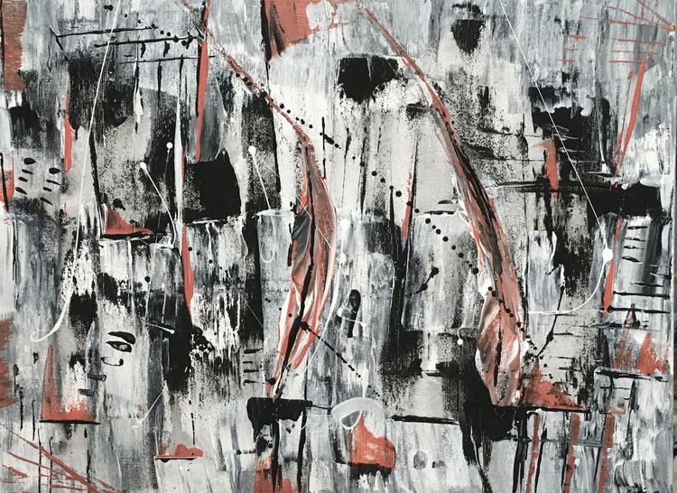 Gemälde, Malerei abstrakt, Spachteltechnik, Schwarz weiß rot, Malerei