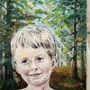 Im wald, Junge, Frischer morgen, Malerei