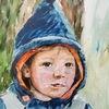 Am baum lehnend, Junge, Portrait, Aquarell