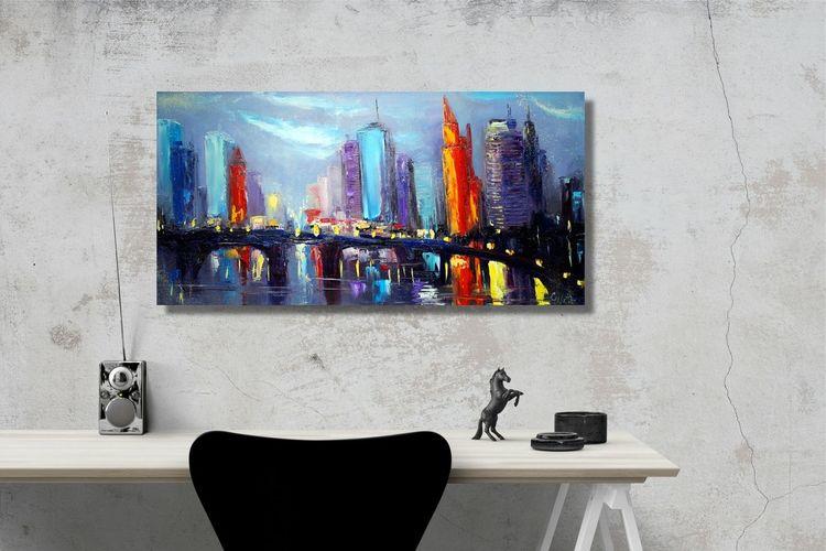 Kunstwerk, Meer, Modern, Stadt, Zeichnung, Ölmalerei