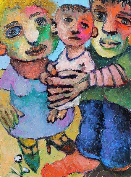 Öl auf karton, Liebe, Junge, Eine frau, Malerei, Ölmalerei