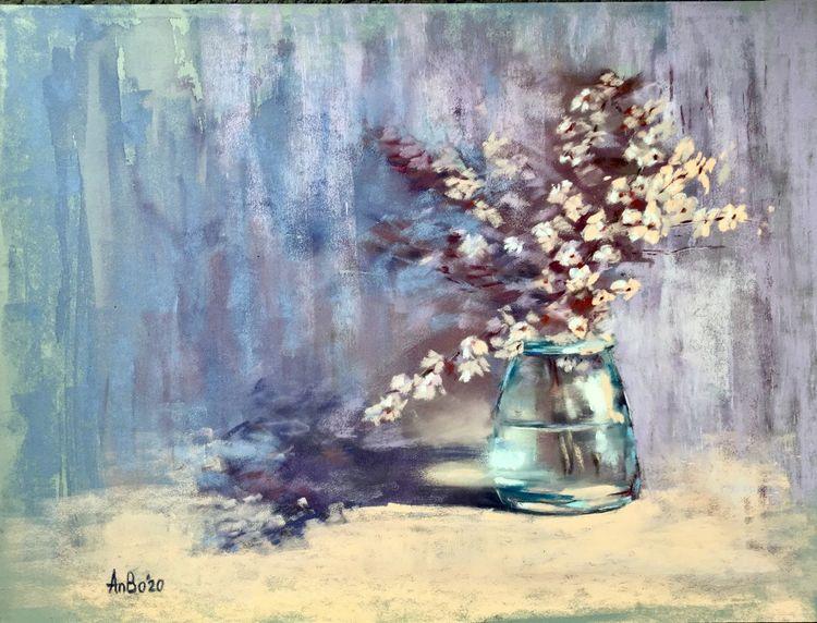 Blumen, Stillleben, Pastellmalerei, Malerei, Gemälde