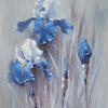 Iris, Schwertlilie, Blumen, Malerei
