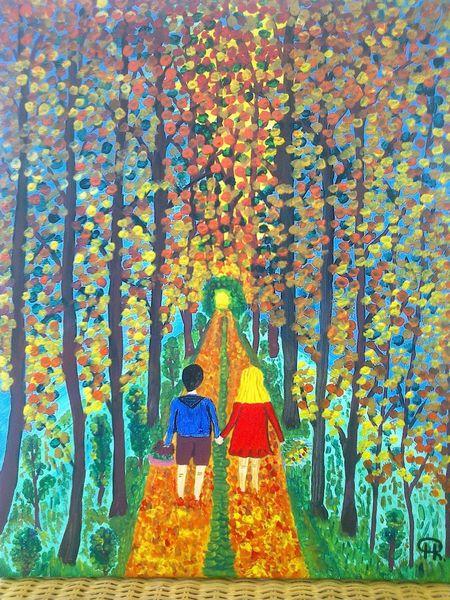 Abstrakte malerei, Landschaft, Wald, Herbst, Malerei, Besuch