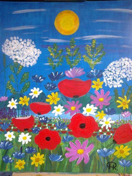 Sommer, Mohn, Landschaft, Blumen, Malerei