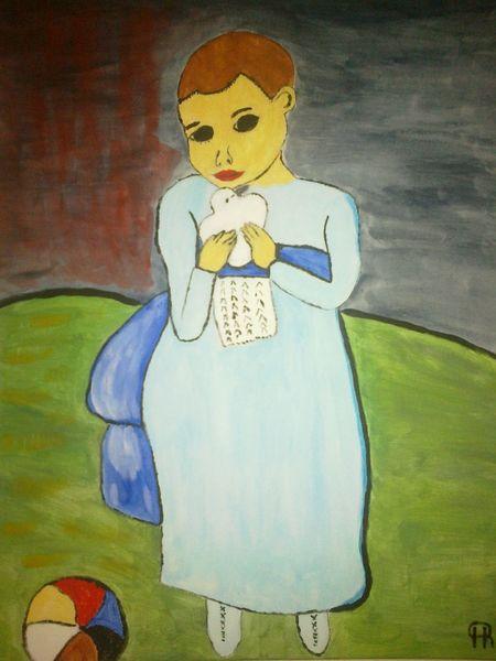 Abstrakte malerei, Mädchen, Taube, Menschen, Malerei, Ball