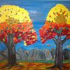 Herbst, Abstrakte malerei, Baum, Landschaft