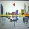 Abstrakte malerei, Stadt, Skyline, Malerei