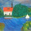 Abstrakte malerei, See, Kirche, Gebäude