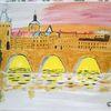 Abstrakte malerei, Architektur, Stadt, Malerei