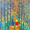 Abstrakte malerei, Landschaft, Wald, Herbst