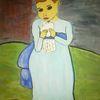 Menschen, Abstrakte malerei, Mädchen, Taube