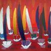 Abstrakte malerei, Segelboot, Spor, T wasser