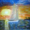 Abstrakte malerei, Segelboot, Landschaft, Malerei