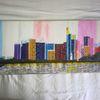 Abstrakte malerei, Skyline, Stadt, Malerei