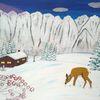 Landschaft, Berghütte, Abstrakte malerei, Berge