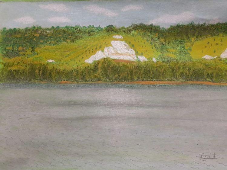 Fluss, Kalkfelsen, Ufer, Zeichnungen, Kindheit