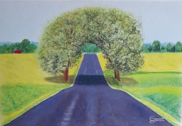 Rapsfelder, Baum, Komplementärfarbe, Landstraße, Malerei