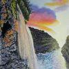 Dämmerung, Wasserfall, Felsen, Malerei