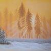 Waldrand, Sonnenstrahlen, Schnee, Malerei