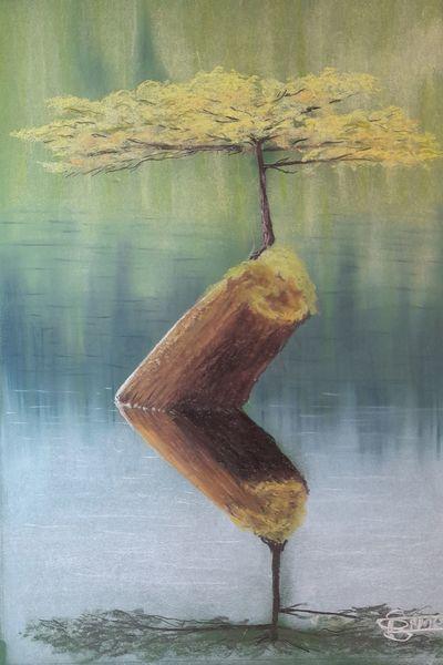 Baum, Baumstamm, Spiegelung, See, Malerei