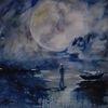 Menschen, Steg, Mond, Wolken