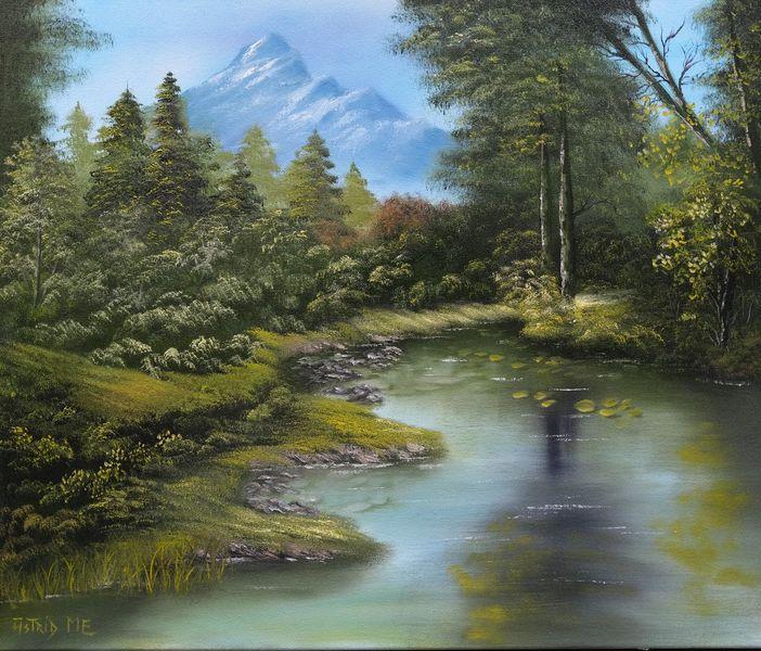 Ölmalerei, Gras, Reflexion, Natur, Grün, Landschaft
