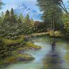 Berge, Grün, Wasser, Ölmalerei