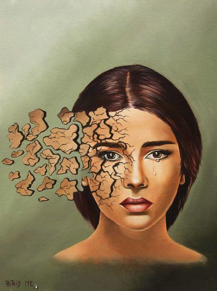Trauer, Ölmalerei, Tränen, Portrait, Mosaik, Menschen