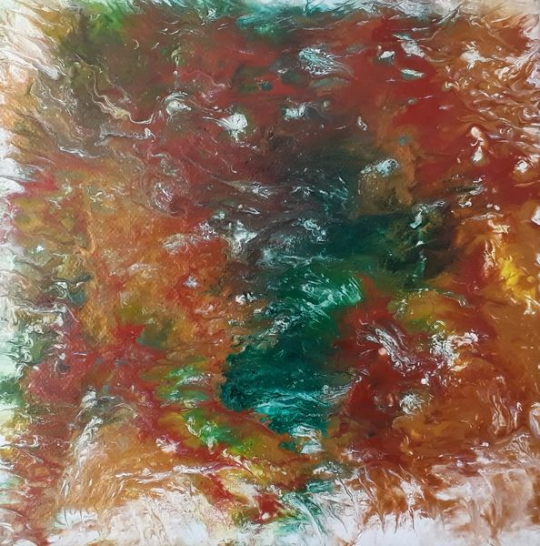 Acrylfarben, Orange, Flüssig, Bunt, Gold, Fluid painting