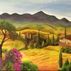 Toskana, Landschaft, Herbst, Malerei