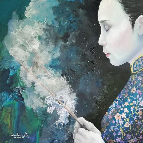 Spirituell, Asien, Frau, Ölmalerei, Malerei, Meditation