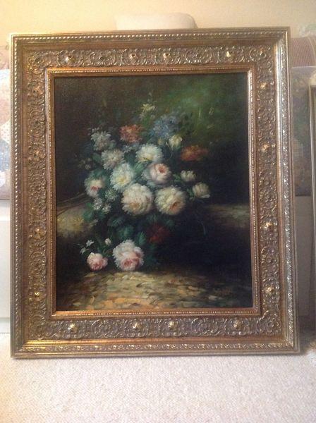 Malerei, Stillleben, Blumen, Pinnwand