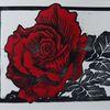Rose, Blumen, Linolschnitt, Wasserfarbe