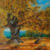 Herbstbaum, Natur, Landschaft, Acrylmalerei
