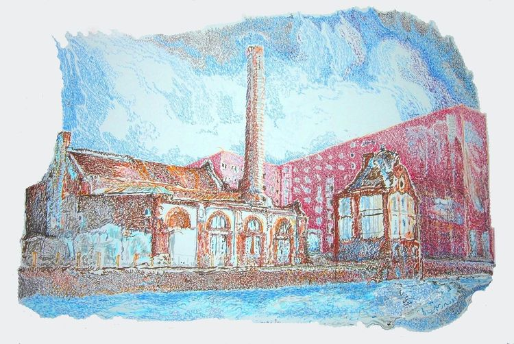 Fabrik, Landschaft, Farben, Zeichnungen, Interieur
