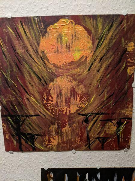 Pappe, Untergang, Feuer, Acrylmalerei, Malerei