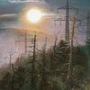 Strommast, Waldsterben, Sonnenuntergang, Ölmalerei