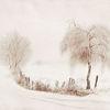 Baum, Tuschmalerei, Landschaft, Einsamkeit