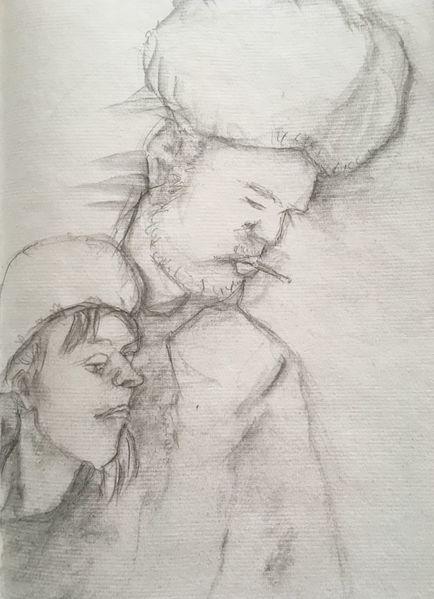 Bleistiftzeichnung, Pelzmütze, Zigarette, Zeichnungen, Freund