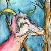 Fabelwesen, Dämmerung, Baum, Malerei