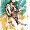 Zeichnung, Lässig angelehnt, Pastellmalerei, Malerei