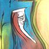 Mond, Bett, Pastellmalerei, Malerei