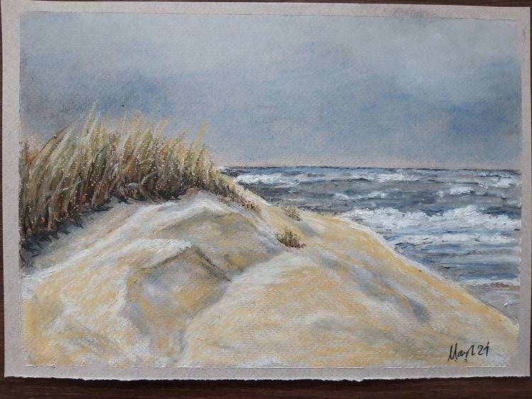 Gewitter, Langeoog, Meer, Insel, Pastellmalerei, Strand